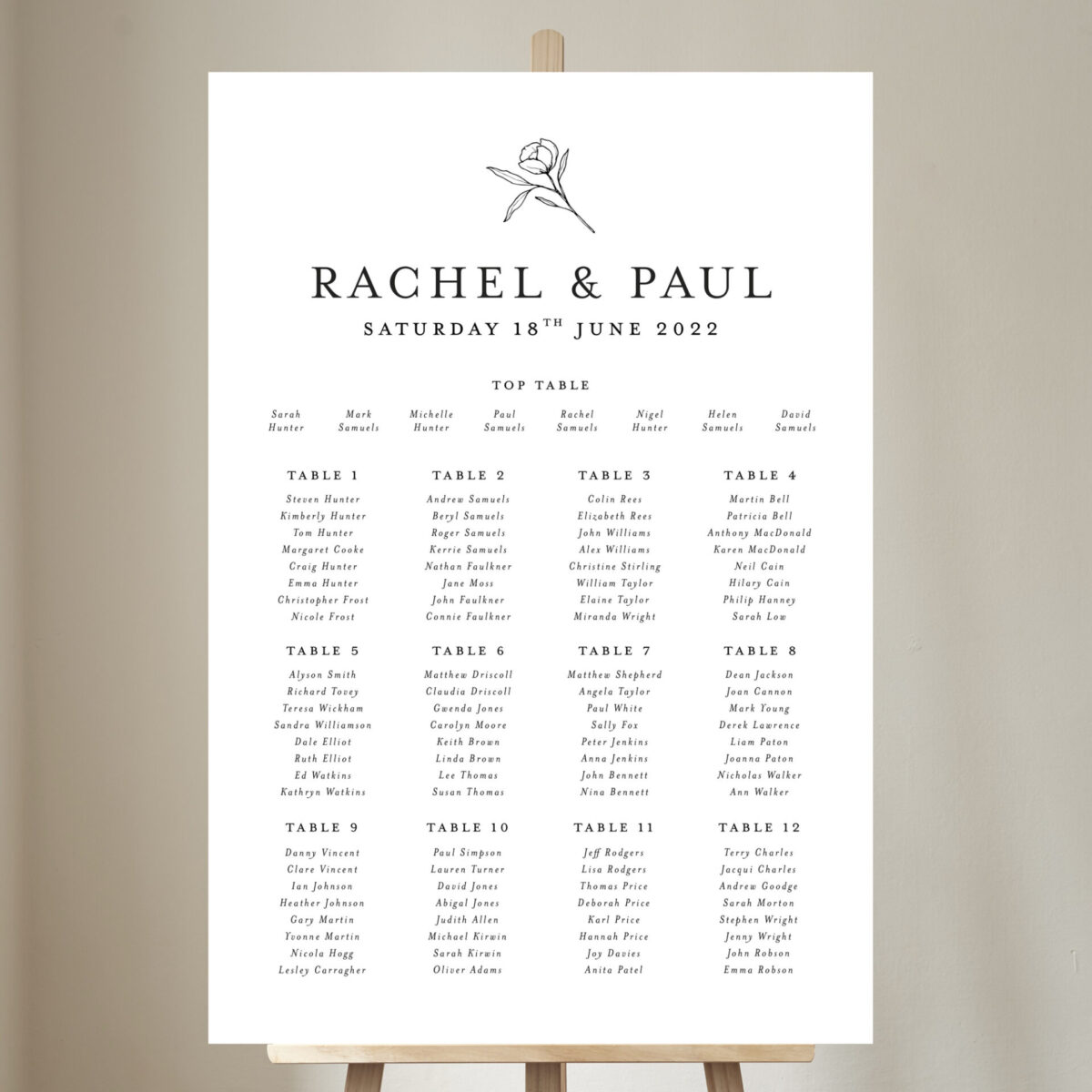 Ophelia Table Plan